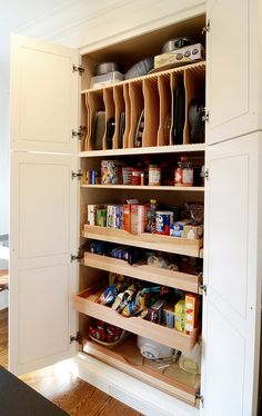 pantry shelves - pull out draws and vertical storage