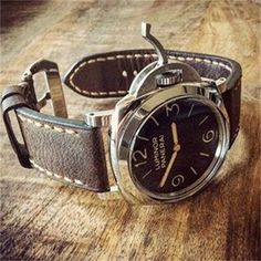 Vintage Brown Leather + Light Brown Stitching  for Luminor Panerai
