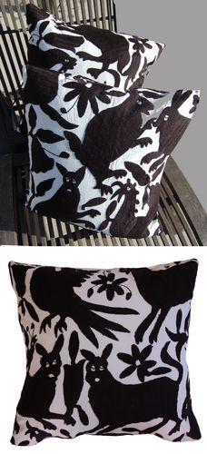 black otomi fabric pillow $150
