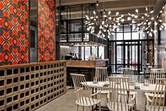 This eclectic restaurant has gorgeous lighting and an appealing look. Learn more about it on LightsOnline Blog.