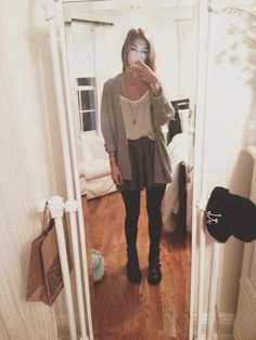 ootd! brandy skirt, tank, cardigan, and necklace with tights and boots from urban :~)