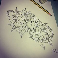 design rose and clock tattoo #rose # tattoo #clock