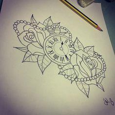 tattoo design rozen met klok - Google zoeken