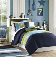 Blue Olive and Tan Striped Bedding