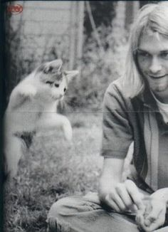 Kurt Kobain and a Kitty :3