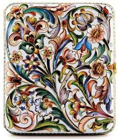 antiques price guide, antiques priceguide, silver & gold, Russia, Russian silver-gilt and enamel cigarette case early 20th century hinged case with intricate scrolling floral and foliate shaded enamel-decorated exterior in the Rococo taste; indistinguishable marks.