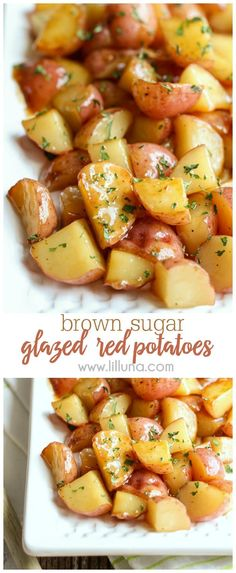 Nov 2019 - These Brown Sugar Glazed Red Potatoes have become our new favorite side dish! With only FOUR ingredients required, this red potatoes recipe is so simple to make. Everyone loves red skin potatoes smothered in a buttery brown sugar glaze! Potato Sides, Potato Side Dishes, Veggie Dishes, Food Dishes, Dinner Side Dishes, Red Potato Recipes, Veggie Recipes, New Recipes, Cooking Recipes