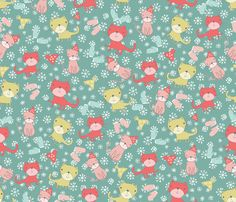 Kittens and their mittens fabric by madex on Spoonflower - custom fabric