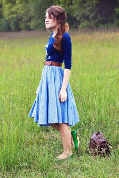 Graphic tee + Belted full skirt