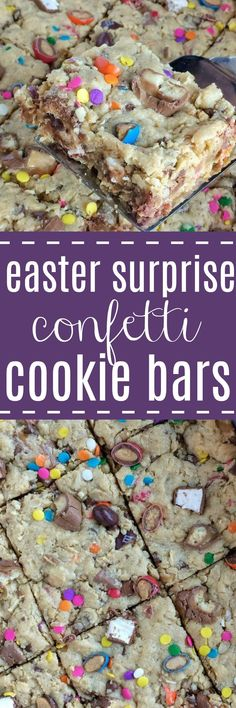 Easter Surprise Confetti Cookie Bars | Oatmeal peanut butter cookie bars loaded with Easter candy and springtime confetti sprinkles! #easterrecipes #easterdesserts #easter #cookiebarrecipes