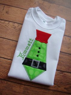 Santa or Elf Tie Christmas Shirt  Tie by CreationsSewFabulous, $16.00 Christmas Onsies, Grinch Christmas Party, Boys Christmas Outfits, Christmas Applique, Kids Christmas, Christmas Clothing, Elf Shirt, Homemade Christmas Gifts, Clothes Crafts
