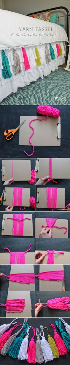 DIY Yarn Tassel Bedskirt - A great craft for any mother-daughter team. Add some simple yarn tassels to pretty up your bedskirt Diy Projects To Try, Sewing Projects, Craft Projects, Project Ideas, Craft Tutorials, Diy Hacks, Yarn Crafts, Diy And Crafts, Decor Crafts