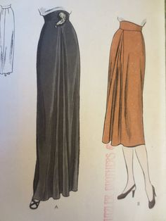 Vintage Vogue 5804 costura patrón, patrón de la falda de los años 40, falda drapeada, frente plisado, Godet, cintura delantera 26 pulgadas, ...