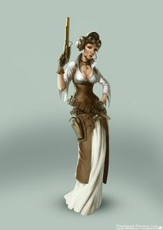 """""""Steampunk Star Wars - Princess Leia"""" by Björn Hurri. I have a soft spot for Star Wars and steampunk, so I may be biased in favor of these redesigns. Steampunk Star Wars, Arte Steampunk, Steampunk Costume, Steampunk Fashion, Steampunk Design, Steampunk Artwork, Style Steampunk, Manga Comics, Bd Comics"""