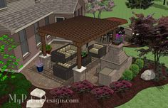 Colorful and Curvy Outdoor Living Design with Outdoor Fireplace, 12' x 16' Cedar Pergola and Seat Walls.  Features 605 Square Feet   Plan No. 1143rr   Download Installation Plan at MyPatioDesign.com