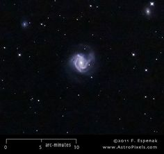 M61 (also designated NGC 4303) is a spiral galaxy in the constellation Virgo. It has an apparent visual magnitude of 9.7 and its angular diameter is 6x5.5 arc-minutes. M61 lies at an estimated distance of 60 million light years.