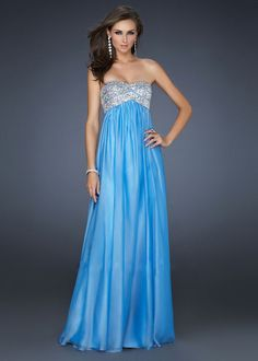 Skyblue Long Strapless Prom Dress with Sparkly Top