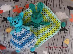 Doudou chat ou lapin avec carré granny au crochet
