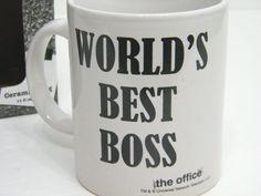 THE OFFICE WORLDS BEST BOSS CERAMIC COFFEE MUG CUP DUNDER MIFFLIN SCRANTON NIB