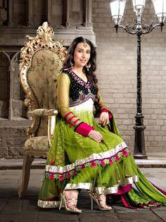 Green Color Net And Velvet Anarkali Suit - Buy Now - http://www.gravity-fashion.com/10442-green-color-net-and-velvet-anarkali-suit.html