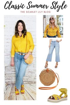 Classic summer style by mixing a high end top with a budget friendly pants. #SummerOutfit #MidlifeStyle #ClassicStyle #TheScarletLily #SummerStyleTips Bright Shoes, Colorful Shoes, Scarlet, Classic Style, Unique Gifts, Summer Outfits, Lily, Budget, Style Inspiration