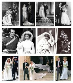 LEFT TO RIGHT: King George V & Queen Mary 1893, King George VI & Queen Elizabeth 1923, Queen Elizabeth II & Prince Phillip 1947, Princess Margaret & Anthony Armstrong-Jones 1960, Princess Anne & Captain Mark Phillips 1973, Prince Charles & Princess Diana 1981, Prince Andrew & Princess Sarah Ferguson 1986, Prince Edward & Sophie, Countess of Wessex 1999, Prince Charles & Camilla, Duchess of Cornwall 2005.