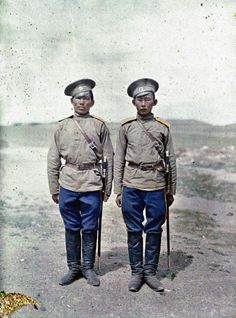 Two Cossack soldiers in Urga, Mongolia, Photo credit: Stefan Passe, courtesy of Albert Kahn Archive Mongolia, World War One, First World, Old Pictures, Old Photos, Vintage Photos, Photo Restaurant, Albert Kahn, Bactrian Camel