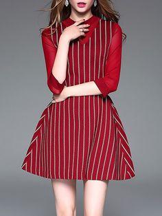 Shop Mini Dresses - Red A-line Stripes 3/4 Sleeve Mini Dress online. Discover unique designers fashion at StyleWe.com.