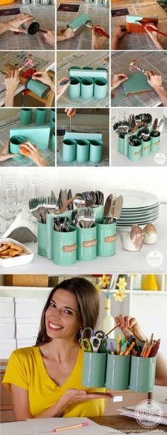 Artesanato na Pratica: Veja como fazer um porta-tudo reciclando latas