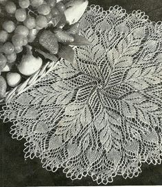 Vintage Knit Doily Pattern from Pine Cone Knitted Doily Pattern Lace Knitting Stitches, Lace Knitting Patterns, Doily Patterns, Scarf Patterns, Vintage Knitting, Vintage Crochet, Crochet Home, Knit Crochet, Tricot D'art