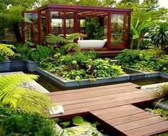 small modern garden ideas contemporary garden design came about as land areas for gardening Outdoor Bathrooms, Outdoor Rooms, Outdoor Gardens, Outdoor Living, Outdoor Bathtub, Indoor Outdoor, Outdoor Retreat, Backyard Retreat, Outdoor Office