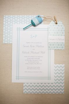 sea glass Maine wedding invitation suite by Chelsey Emery