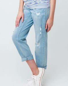 Baxter Boyfriend Jean - Blossom & Glow Maternity.   RRP $129.95, buy them here for $99AUD.  Crafted in a velvety-soft lightweight denim our distressed Baxter Boyfriend Jeans are comfier, and cooler, than your favourite loungewear.  Casual chic is easily achieved by styling these jeans with stripes and your favourite sneakers.   You'll also love the: • Relaxed fit • Elastic under-tummy waistband • Ankle length • Distressed, washed back finish.