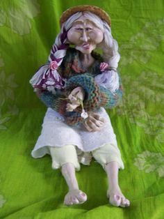 Hand made soft body polymer clay doll by DieselDahlias on Etsy