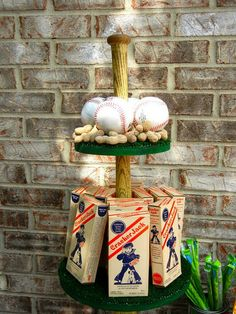 Baseball party - lots of great ideas. Ben loves baseball already! Softball Party, Baseball Birthday Party, Sports Birthday, Sports Party, Sports Wedding, Baseball Centerpiece, Centerpiece Ideas, Sports Centerpieces, Banquet Centerpieces