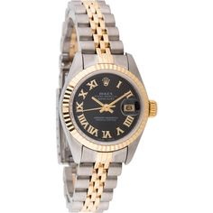 Pre-owned Rolex Oyster Perpetual Datejust Watch ($3,250) ❤ liked on Polyvore featuring jewelry, watches, black wrist watch, automatic watch, stainless steel automatic watch, rolex watches and black dial watches