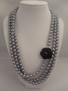 Pewter Glass Pearl Necklace