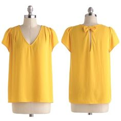 """️Modcloth """"Marigold Medal"""" Top Beautiful golden yellow top - v-neck silhouette - bow adorned keyhole back - ️Loose fit throughout - excellent condition, only worn once NO TRADES ModCloth Tops Blouses"""