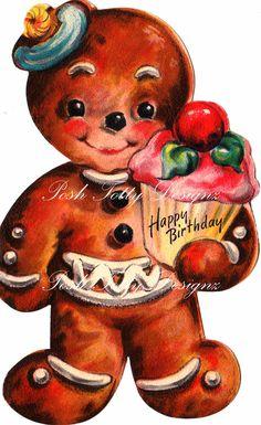 Hombres de jengibre y Digital Vintage Cupcakes por poshtottydesignz
