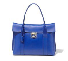 Ferragamo largr shoulder bag in nappa leather- bright blue