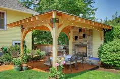 patio gartengestaltung ideen pergola essecke