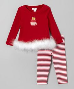 Take a look at this Red & White Marabou Christmas Gift Tunic & Leggings by Tesa Babe on #zulily today!