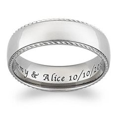 Men's 7.0mm Comfort Fit Engraved Titanium Band (25 Characters)