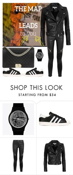 """""""Where's the map that leads me back to"""" by davinia-melki-tahche ❤ liked on Polyvore featuring May28th, adidas Originals, Givenchy, IRO and Chanel"""