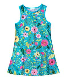 Take a look at this Sunshine Swing | Turquoise & Pink Floral Shift Dress - Toddler & Girls today!