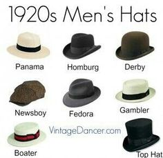 Buy new style mens hats such as the straw boater panama gambler newsboy cap bowler derby fedora and formal top hats Great Gatsby hats 1920s Mens Hats, 1920s Mens Costume, 1920 Men, 1920s Mens Outfit, 1920s Suits, Mens Attire, Gatsby Hat, Gatsby Style, 1920s Style