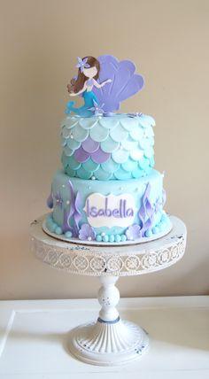 Mermaid cake Little Mermaid Cakes, Mermaid Birthday Cakes, Little Mermaid Parties, Barbie Birthday, Girl Birthday, Birthday Parties, Occasion Cakes, Themed Cakes, Cake Designs