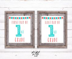 Personalized First Day & Last Day of School Print Set, 8x10, Digital Download, Printable by playfulprintsart on Etsy Can Design, Your Design, Last Day Of School, Childrens Room Decor, Blossom Flower, One Day, Custom Photo, Decoration, Birthday Invitations
