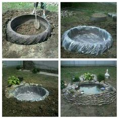 ~tire pond~ old recycled reused repurposed tire large big plastic stones rocks plants decoration water pond fish turtles garden calm pretty landscaping Garden Yard Ideas, Garden Crafts, Garden Projects, Garden Art, Tire Garden, Outdoor Projects, Wood Projects, Ponds Backyard, Backyard Patio