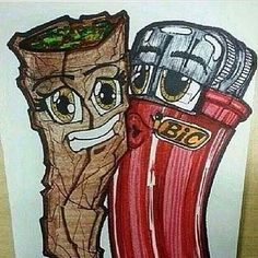 Blunt & Lighter One Love Weed Art Stoner Memes Graffiti Art, Arte Dope, Dope Art, Cartoon Kunst, Cartoon Art, Trippy Cartoon, Trippy Drawings, Art Drawings, Psychedelic Art